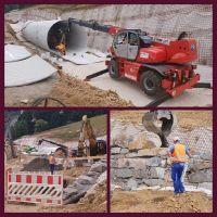 Bild oben - Montage der Tunnelröhre, Bilder unten - Mauerbau am Tunneleingang