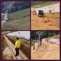 Der Bau beginnt - Bilder v.l.n.r.: Abtragen des Mutterbodens/ Absteckung der Mauer/ Einmessen der neuverlegten Leitungen/ Kontrollnivelement der Säulen